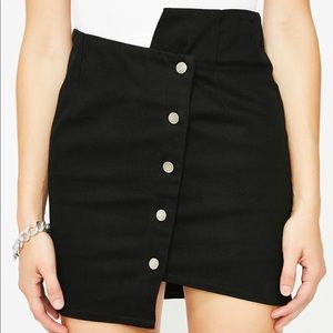 Just One Answer Black Skirt with silver buttons